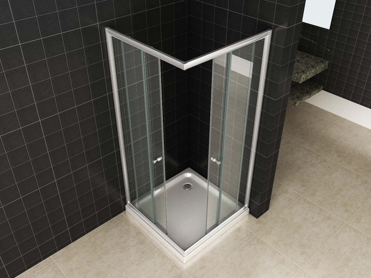 Douchecabine 80 90.Eco Hoekinstap Luxe Douchecabine Chroom 80 Of 90 Www Timsoutlet Nl
